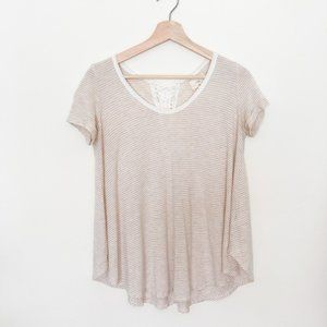 t.la Anthropologie Striped Lace-Up Back Tee